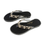 CSL102 Rhinestone Decor Flip Flop, Black